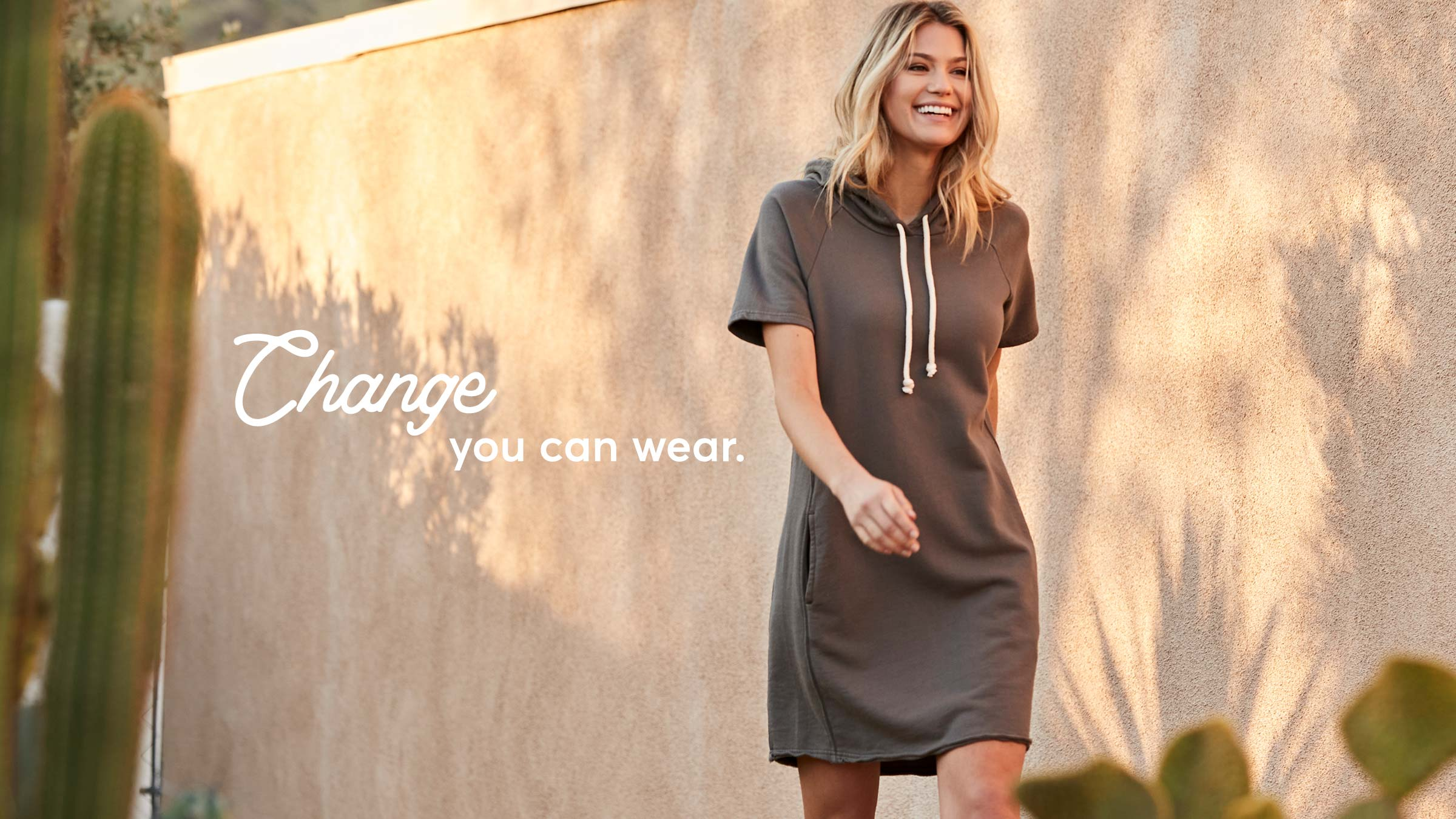 woman wearing pact apparel essential dress